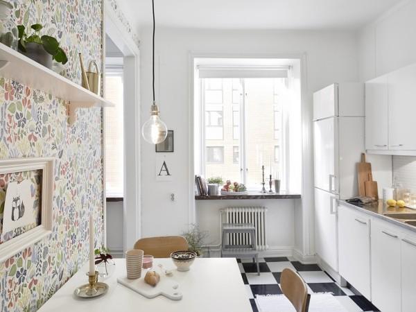 современные обои для кухни в скандинавском стиле