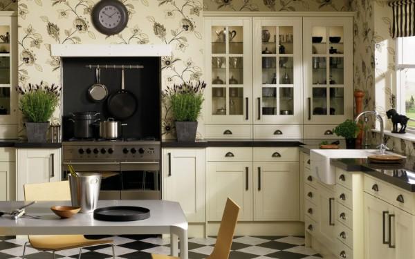 современные обои для небольшой кухни сочетание молочного и чёрного цветов