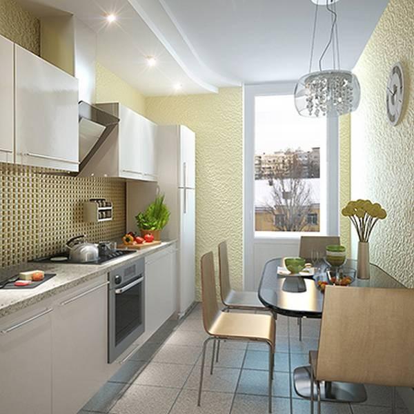 современные обои песочного цвета для небольшой кухни