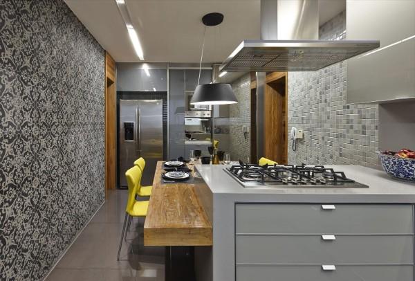 современные стильные обои для кухни
