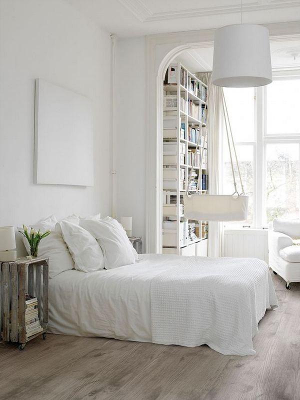 белая спальня в скандинавском стиле постельное белье