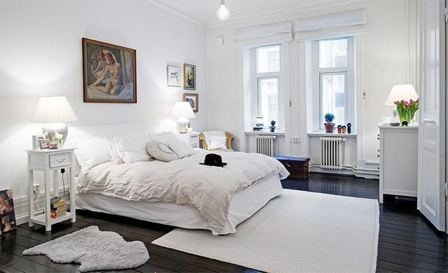 белая спальня в скандиавском стиле