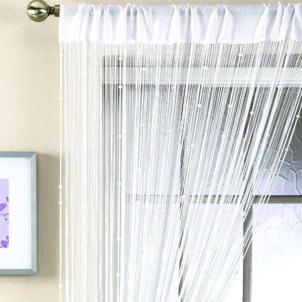 белые шторы нити в интерьере