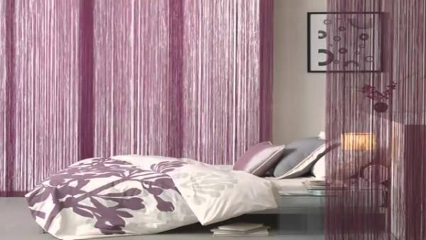 бледно-сиреневые шторы нити в интерьере спальни
