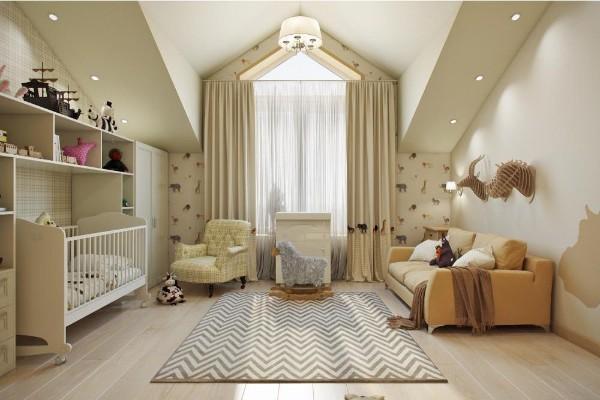 дизайн мансардного этажа бежевая детская