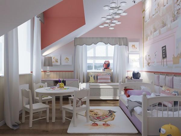 дизайн мансардного этажа детская для девочки