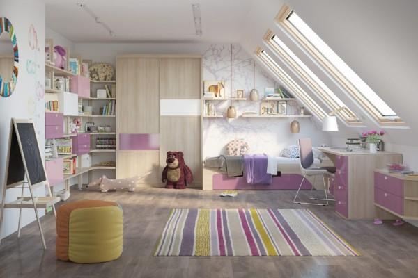 дизайн мансардного этажа комната для девочки