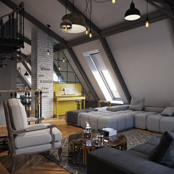 дизайн мансардного этажа серая гостиная в современном стиле
