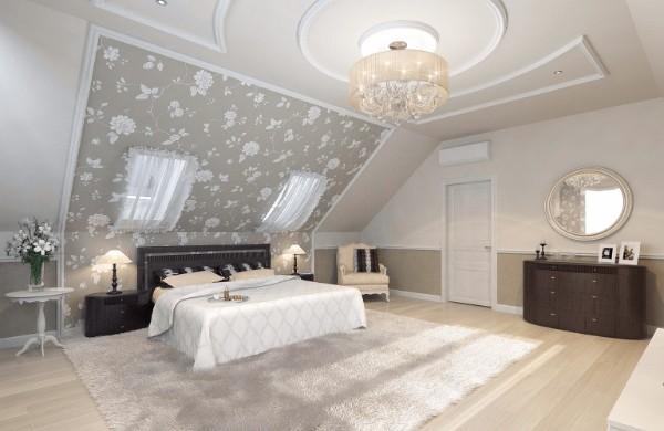 дизайн мансардного этажа спальня с акцентной стеной