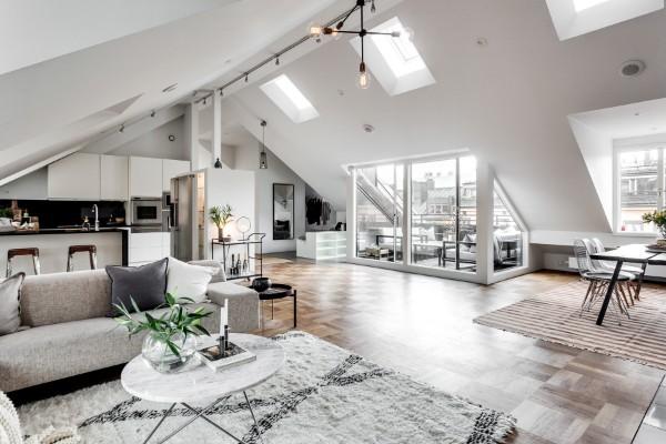дизайн мансардного этажа в скандинавском стиле