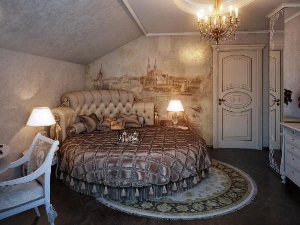 дизайн спальни в мансардном этаже