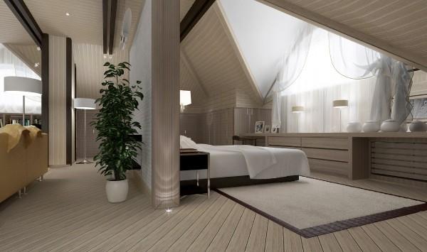 гармоничный интерьер в кофейных тонах дизайн мансардного этажа