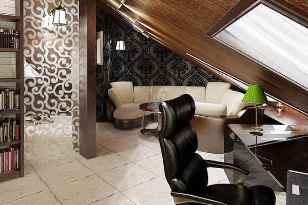интерьер роскошного кабинета дизайн мансардного этажа