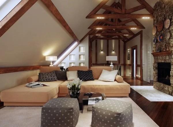 интерьер уютной гостиной дизайн мансардного этажа