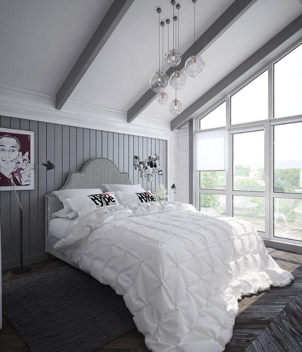 интерьер в серо-белом цвете дизайн мансардного этажа