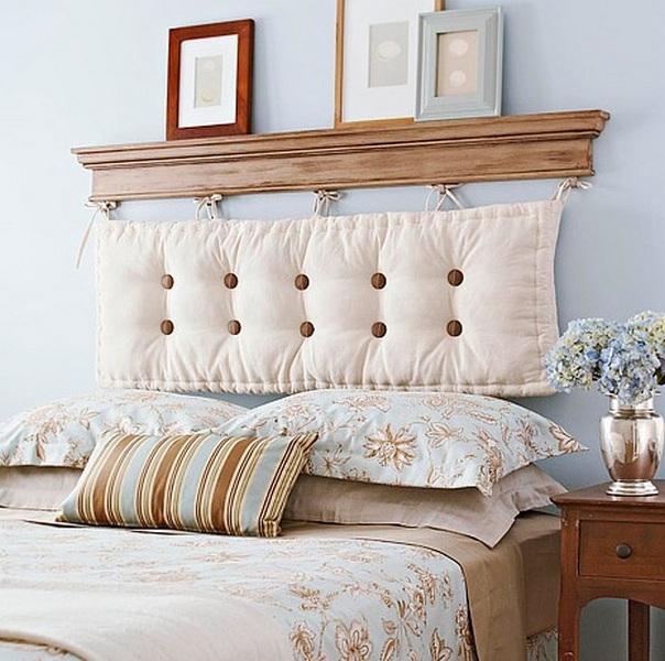 как оформить изголовье кровати подушка