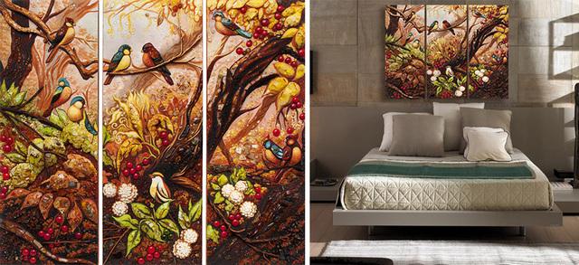 картины в спальню над кроватью триптих