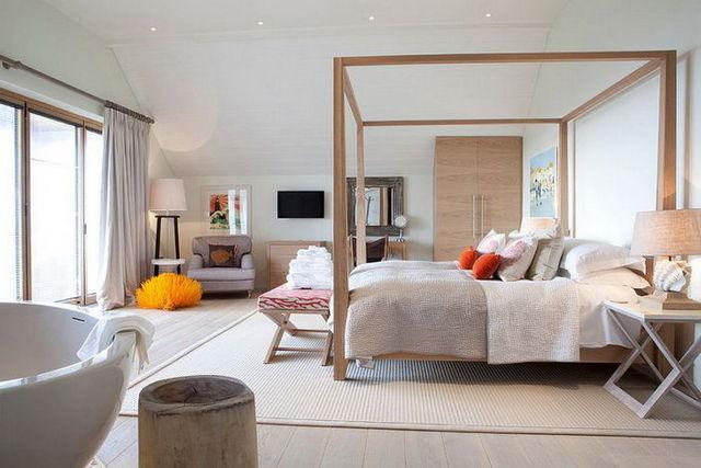 кровать в спальне скандинавского стиле куб