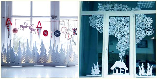 новогодний декор украшаем окна