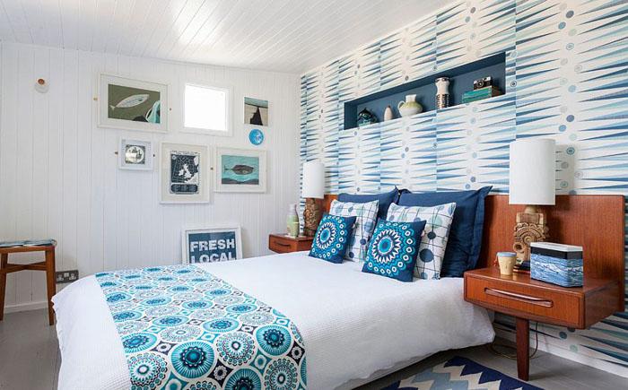 обои в спальне скандинавский стиль бирюзовый