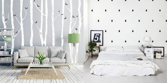 обои в спальне скандинавский стиль фотообои