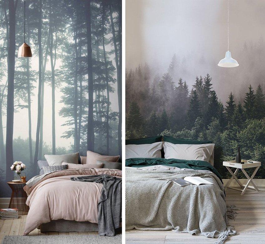обои в спальне скандинавский стиль лес