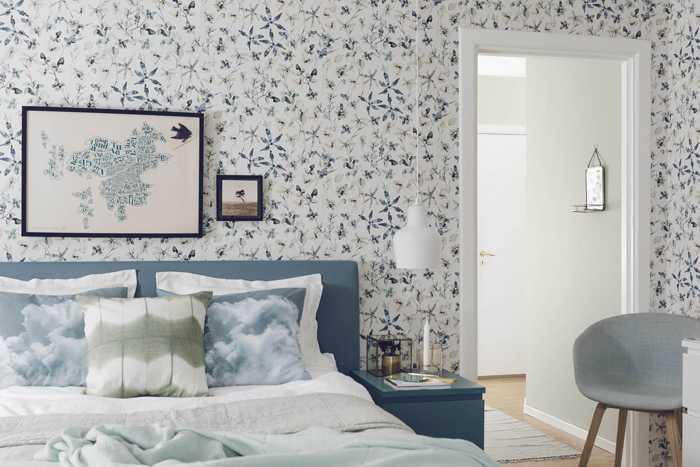 обои в спальне скандинавский стиль с цветами