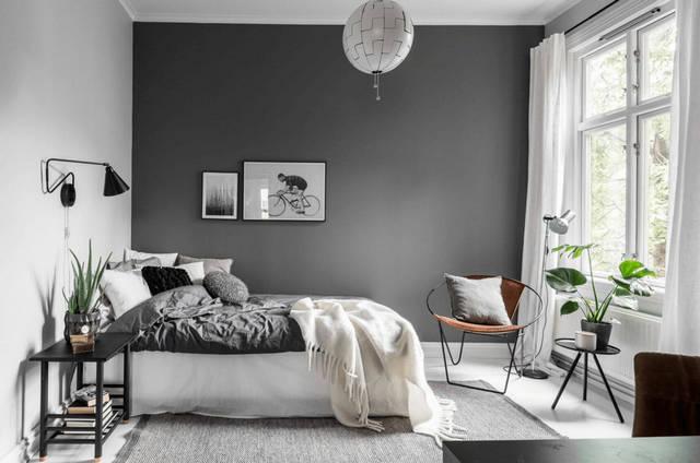 серая спальня в скандинавском стиле акцентная стена