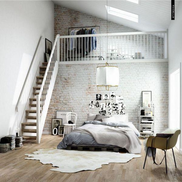 серая спальня в скандинавском стиле два уровня