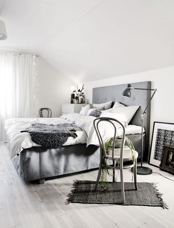 серая спальня в скандинавском стиле фото