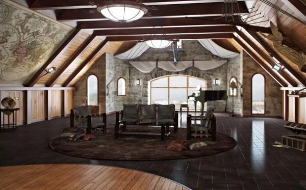 шикарный интерьер в кофейных тонах дизайн мансардного этажа