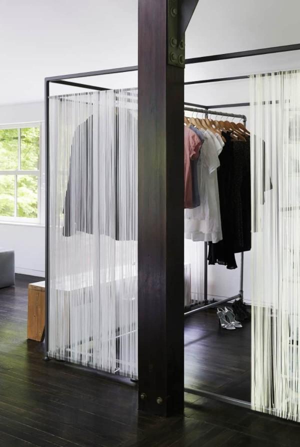 шторы нити в интерьере декорирование гардеробной