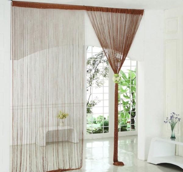 шторы нити в интерьере коричневый оттенок