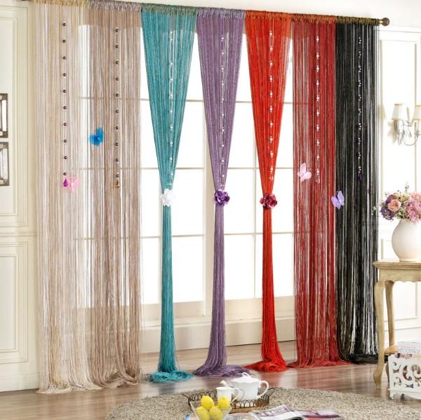 шторы нити в интерьере разные цвета фото