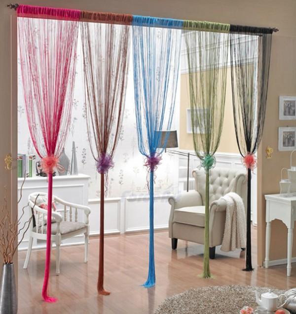 шторы нити в интерьере разные цвета