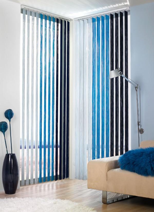 шторы нити в интерьере синий чёрный и белый цвет
