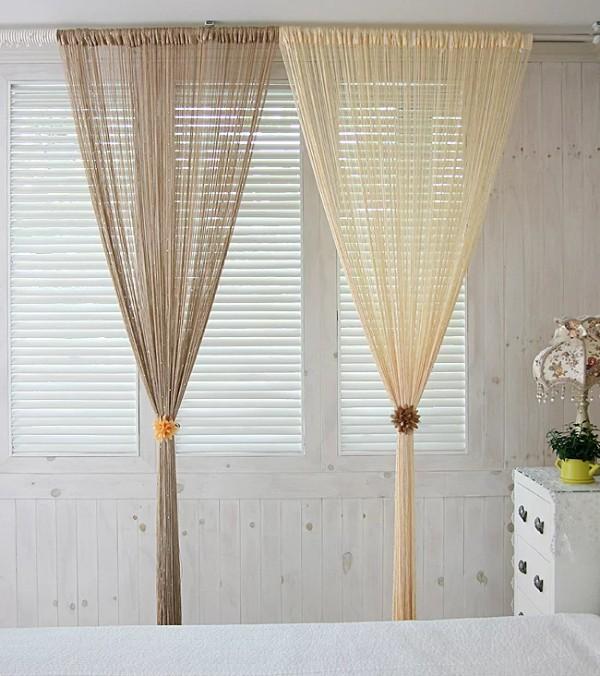 шторы нити в интерьере сочетание двух разных оттенков бежевого