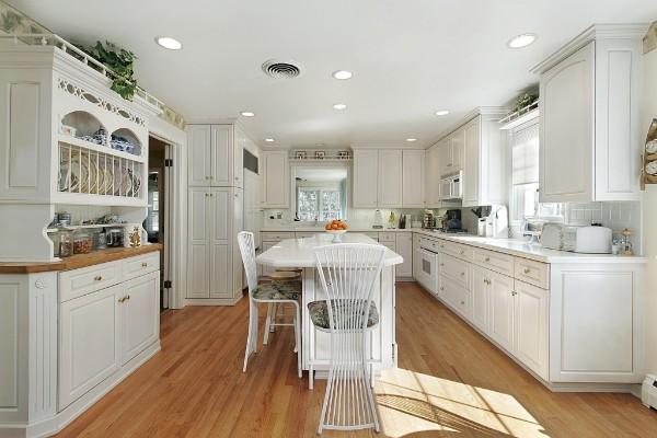 скандинавский стиль просторная кухня белого цвета
