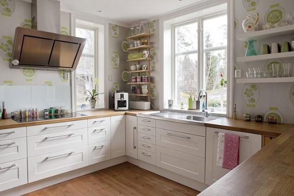 скандинавский стиль в интерьере п-образной кухни