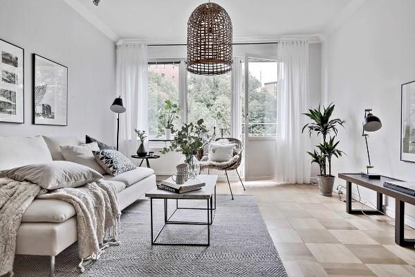 скандинавский стиль в интерьере гостиной дизайн в серых тонах