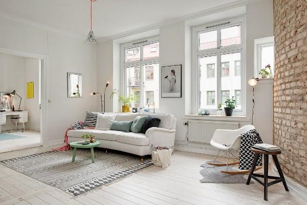 скандинавский стиль в интерьере гостиной кирпичная кладка