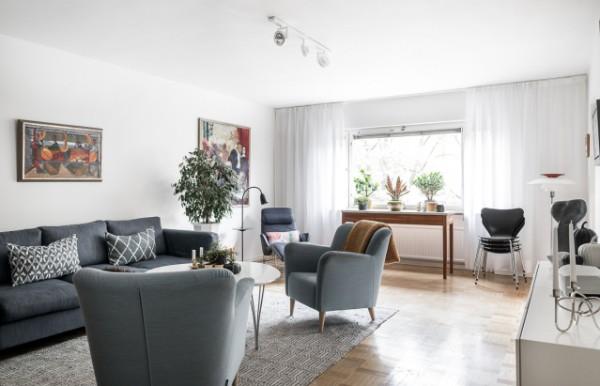 скандинавский стиль в интерьере гостиной прозрачный тюль