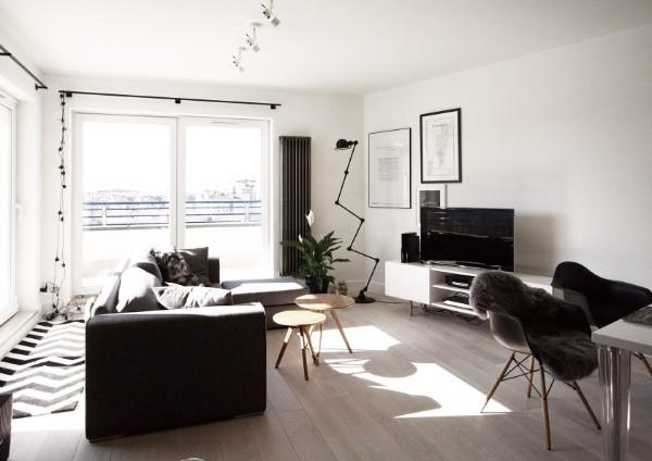 скандинавский стиль в интерьере гостиной серо-чёрный дизайн
