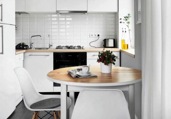 скандинавский стиль в интерьере крошечной кухни