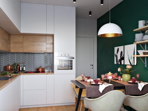 скандинавский стиль в интерьере кухни акцентная стена