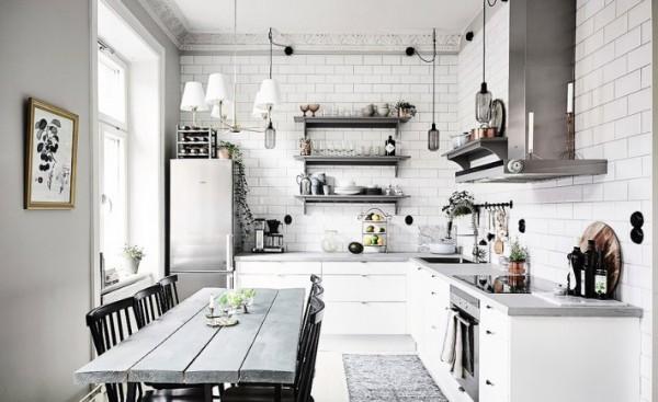 скандинавский стиль в интерьере кухни бело-серый дизайн