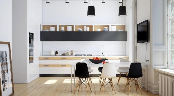 скандинавский стиль в интерьере кухни белый цвет с чёрными акцентами