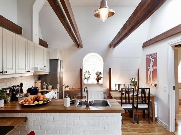 скандинавский стиль в интерьере кухни эффекты дизайн с высокими потолками