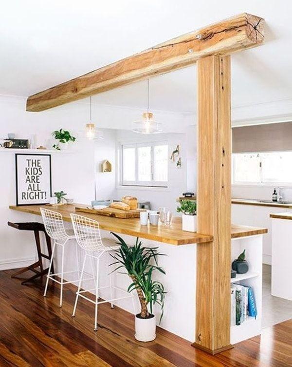скандинавский стиль в интерьере кухни грубая балка на потолке
