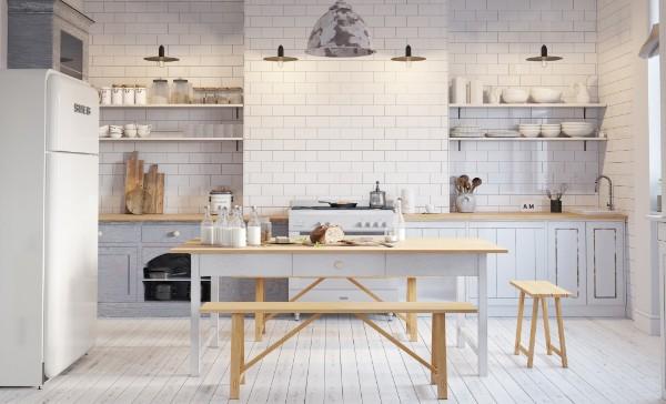 скандинавский стиль в интерьере кухни креативный дизайн